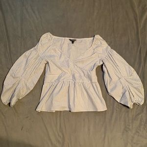 Express White Stripe Bubble Sleeve Blouse EUC Sz M